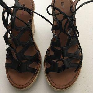 JustFab strappy wedge heels